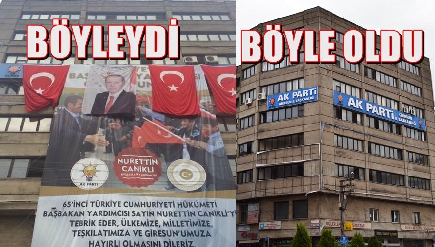 AKP BİNASINDAKİ 'O POSTER' İNDİRİLDİ