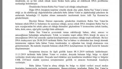 SAVCILIKTAN RABİA NAZ'LA İLGİLİ DNA AÇIKLAMASI