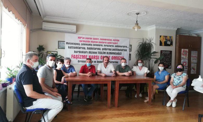 GİRESUN EMEK VE DEMOKRASİ PLATFORMU'NDAN HDP'YE SALDIRIYA KINAMA